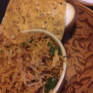 Veg Biryani - Liked it. Not too spicy. The raita was a little runny. But good overall.