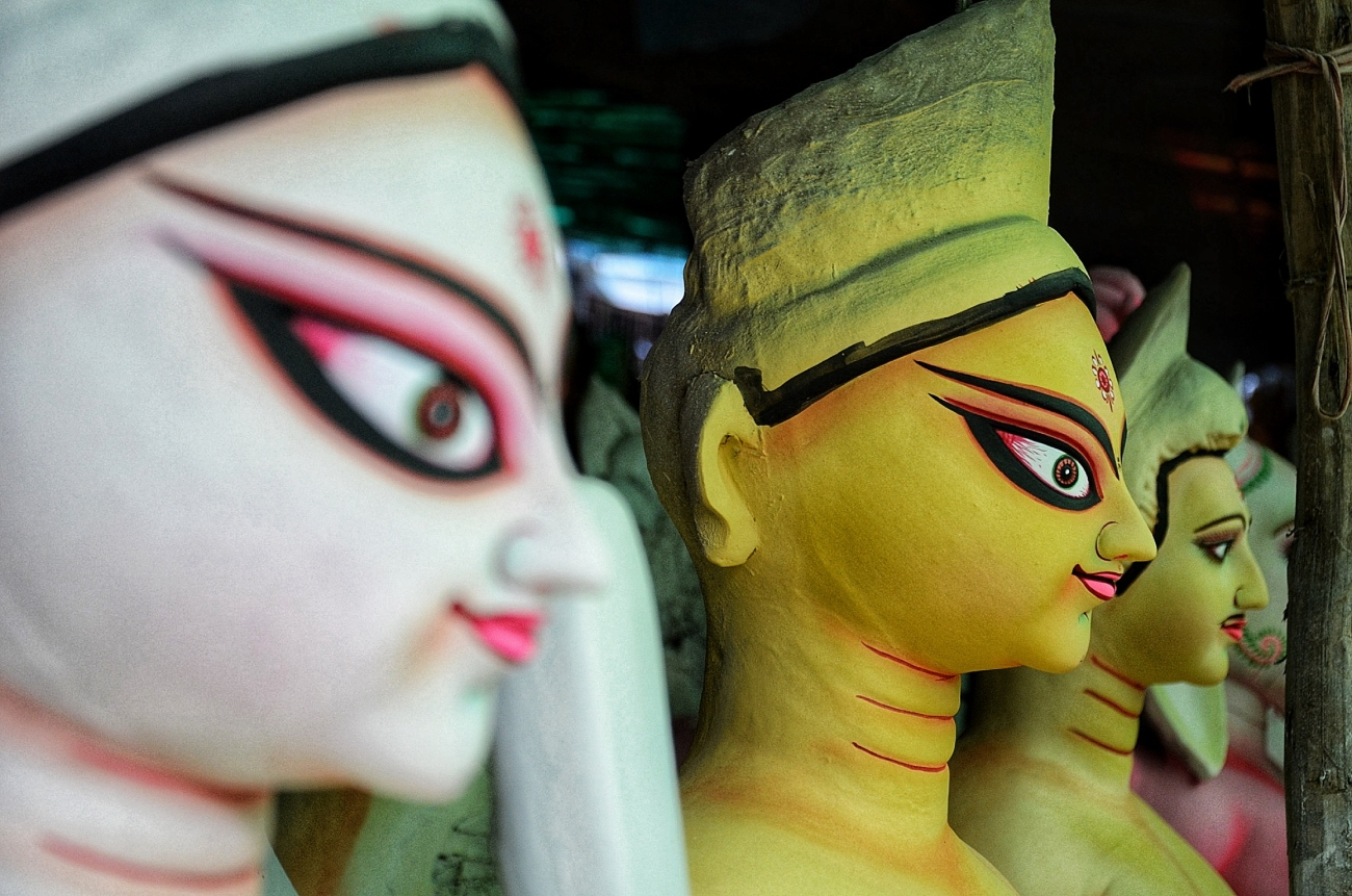 Durga Puja idols at C R Park, Delhi