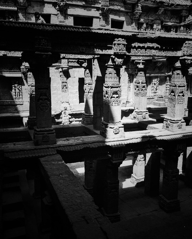The Pillars inside Rani ki vav (Queen's Stepwell) - Gujarat