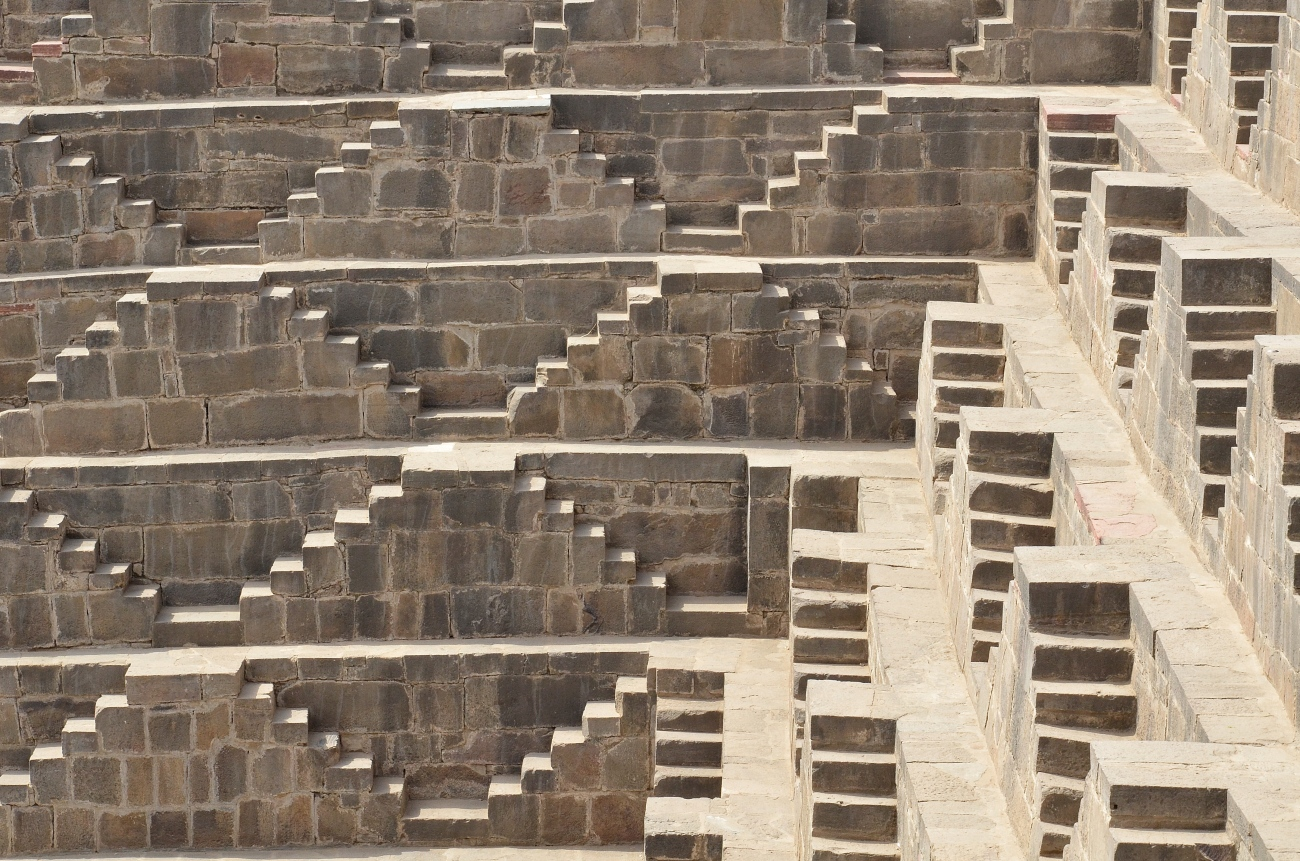 The Steps of Chand Baori Stepwell in Rajasthan