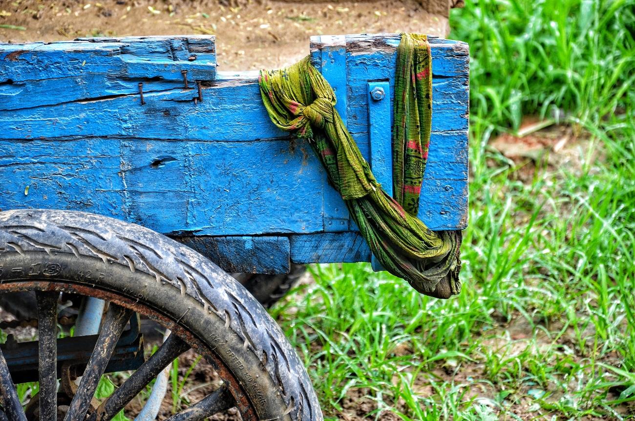 a blue cart