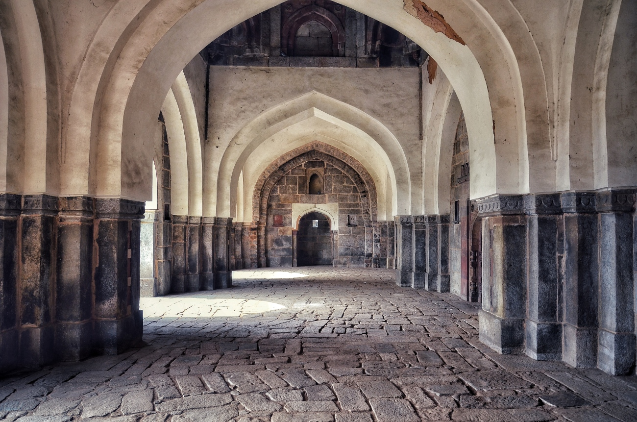 Inside the Mosque next to Isa Khan's Garden Tomb