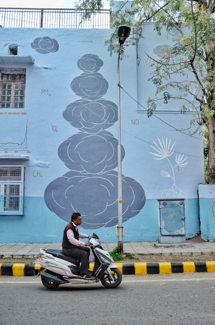 Speeding Past a Mural at the Lodi Art District in New Delhi