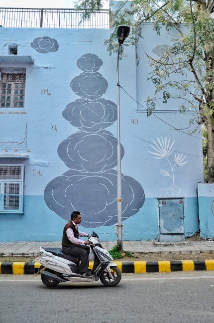 Speeding Past a Mural at the Lodi Art District in New Delhi