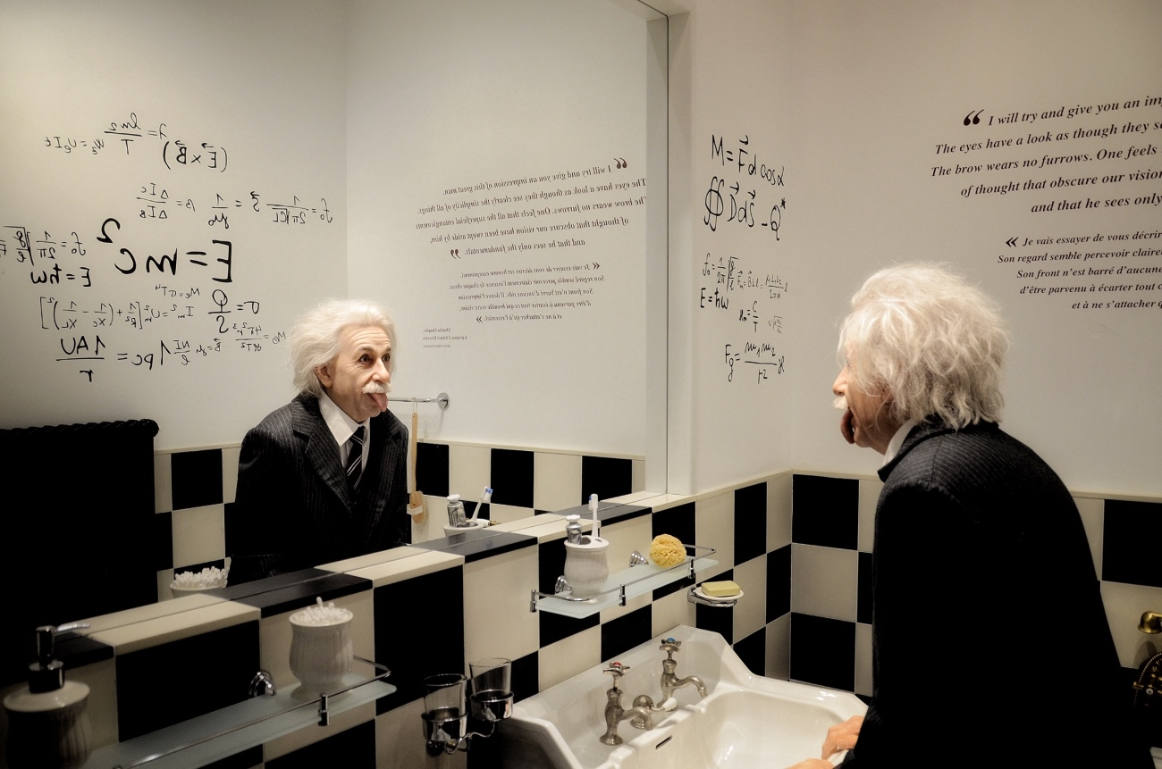 Einstein Wax Figure in Chaplin's World Switzerland
