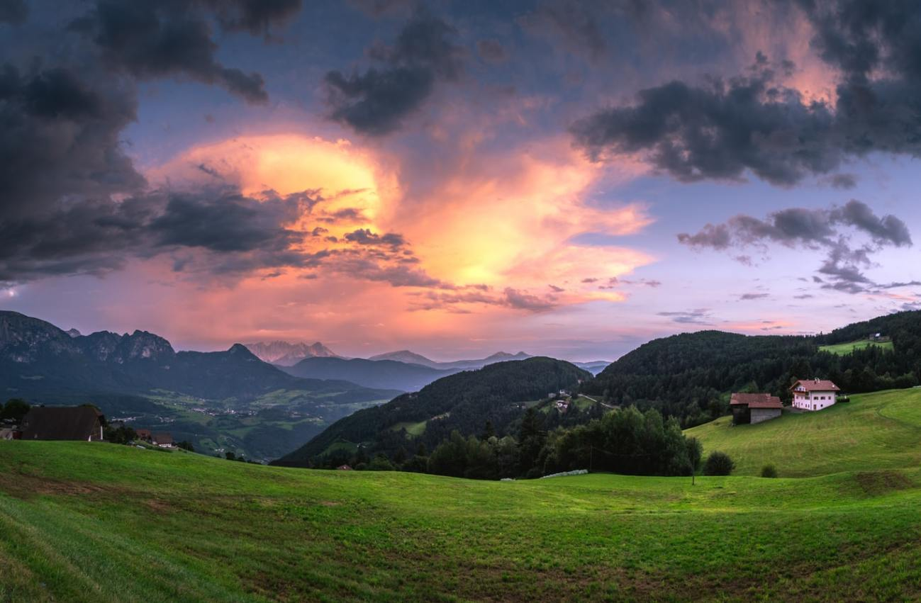 Beautiful sunset at Ritten, Italy