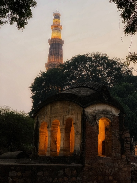 Qutub Minar in New Delhi at Sunset