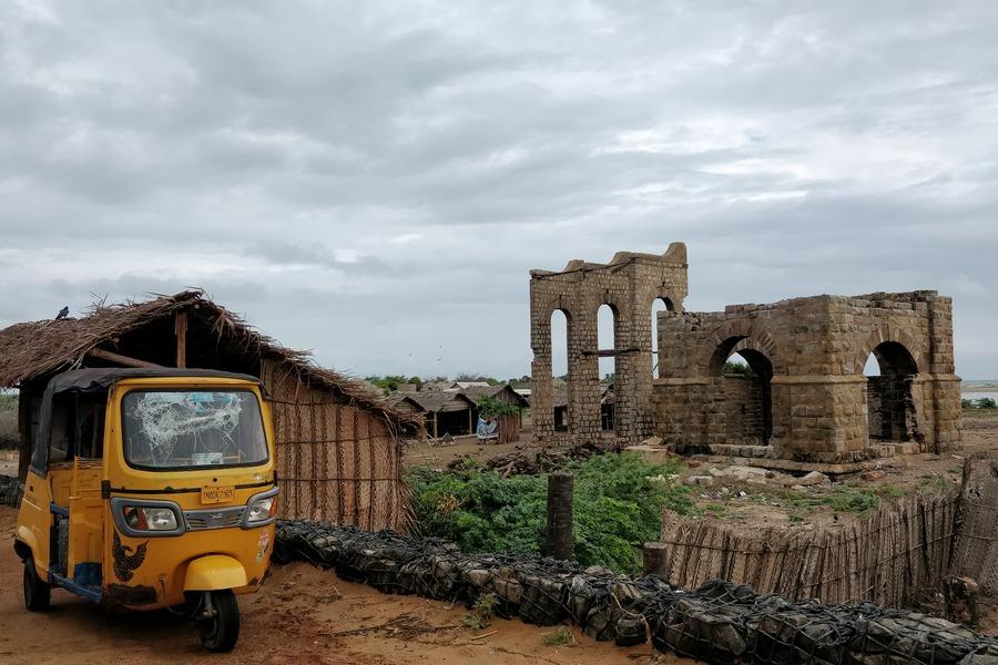 Ruins of the Rainway Station in Dhanushkodi