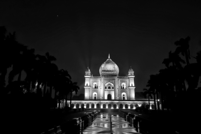 Safdarjung's Tomb at Night - Black and White