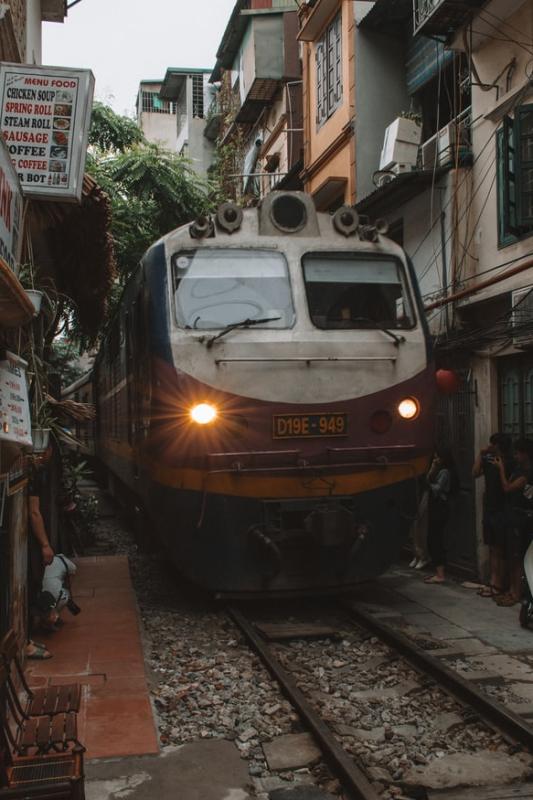 A train passes through the city